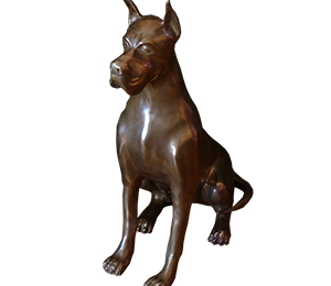 German dog sculpture made of brass