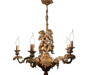 Brass figural chandelier